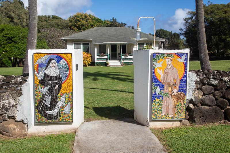 Mosaics at  entrance to St. Francis Church, Kalaupapa