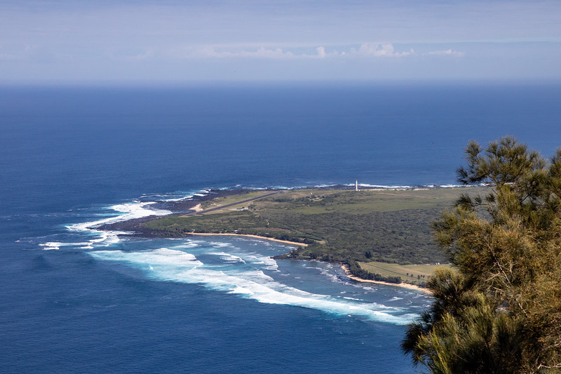 """Kalaupapa airport and lighthouse from """"top side"""" overlook"""