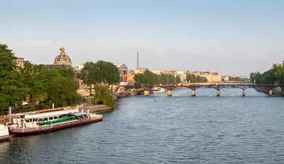 Eiffel Tower, beyond the Seine in Paris.
