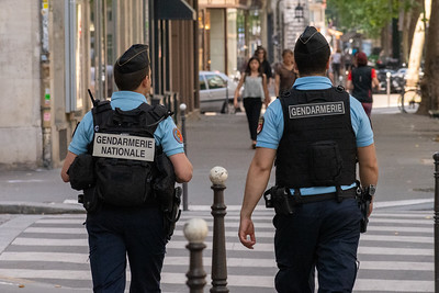 Heavy security for the Paris Triathalon.