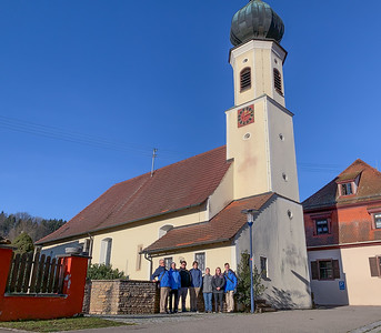 Family photo in front of the church of Sulzau, Germany, original home of Franz Kotz.