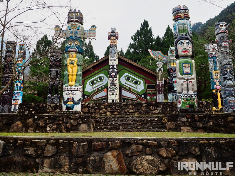 Totem pole displays at the park