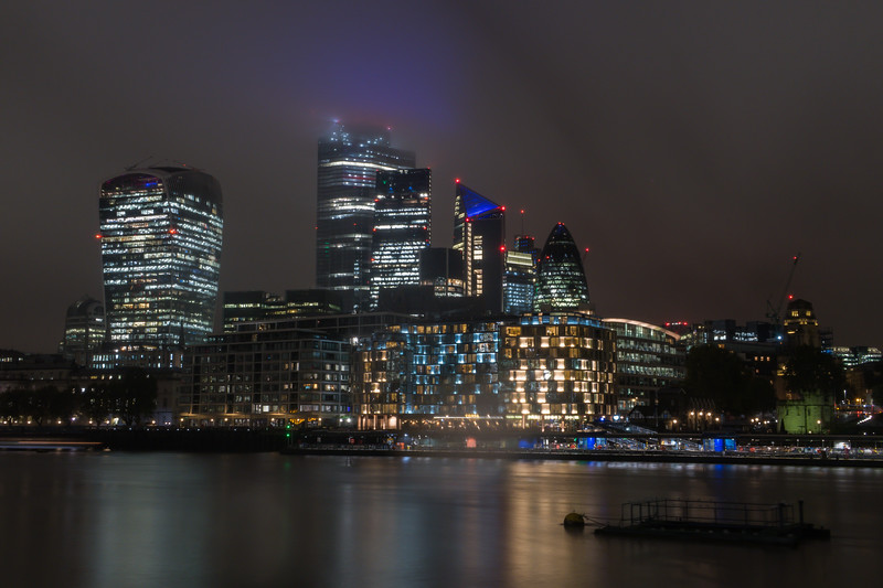 Skyscrapers of City of London - River Thames - London (October 2019)