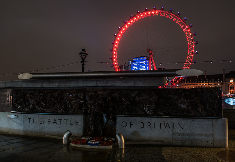 Battle of Britain Memorial and London Eye from Embankment - River Thames - London (October 2019)