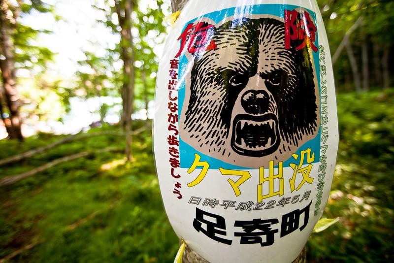 熊注意オンネトー展望台コースを登る(結構ハード) - Lake Onneto, Hokkaido, July 2010<br /> ヒグマに追いかけられたら、足は早いし(時速60キロ?)、木は登るし、絶対逃げ切れませんよ、と後で習う。出会い頭にならないよう、とにかく声や音を出しながら歩くこと。遠くにヒグマを見つけたら。そろりそろりと後退すべし。