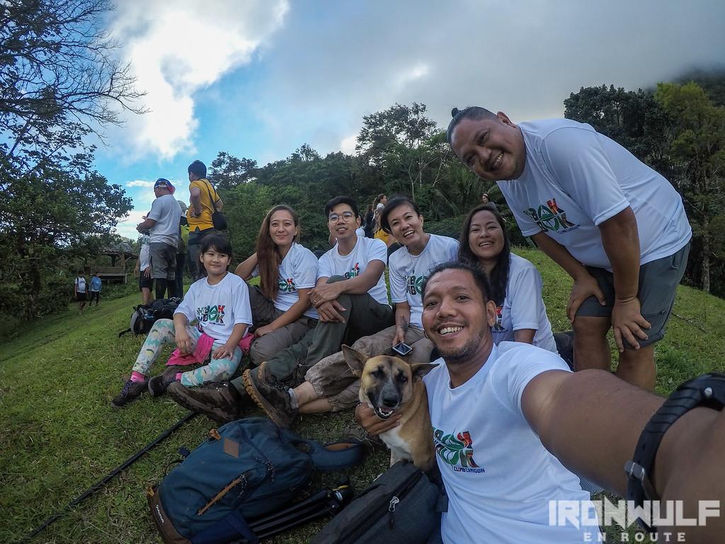 Trail buddies, dog and friends