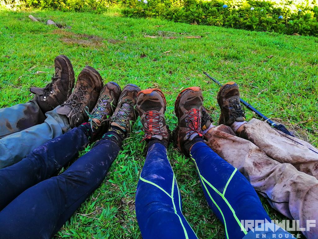 Muddy shoes and leggings/pants
