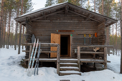 A cabin in the woodlands of a National Park outside Oulu.