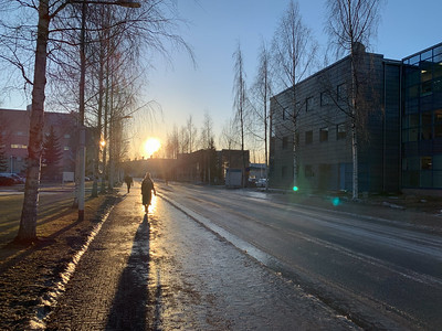 Oulu, Finland, at high noon.  Sun barely above the horizon!