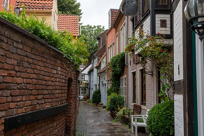 The Schnoor is one of the oldest neighborhoods in Bremen, with tiny houses packed side-by-side.