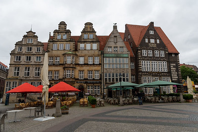 Historic merchants' homes on the main square in Bremen.