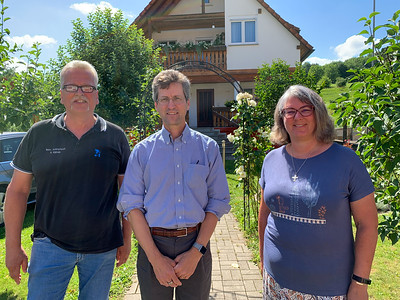 David Kotz with Hubert and Andrea Kienzle; Hubert is the grandson of Martha Kotz; this home was theirs and hers.