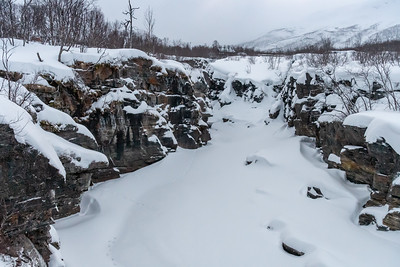 The lower canyon, at Abisko, in evening twilight.