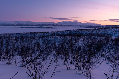 Mountains and Lake Torneträsk, before sunrise.