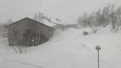 Heavy snowstorm, seen from Abisko STF hotel.