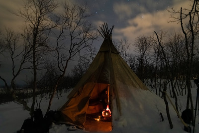 A teepee - with woodstove - used by the Northern Lights photo tour, in Abisko.