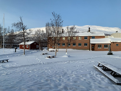 A small part of the Abisko STF hotel and event center; Njullá peak at rear.