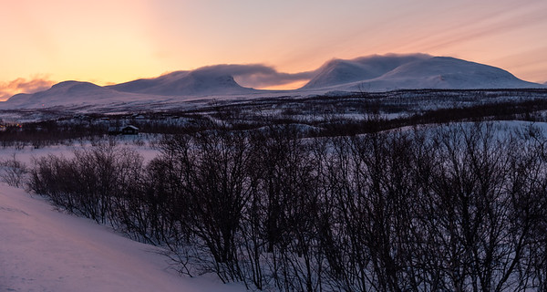 "Lapporten (""The Lapponian Gate"") seen from the road outside Abisko, before sunrise."