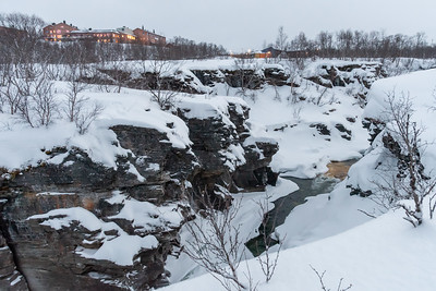 The lower canyon, and Abisko STF TouristStation, in evening twilight.