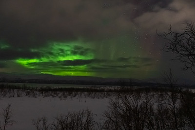 Northern Lights as seen from Abisko across Lake Torneträsk.