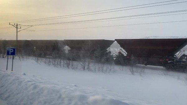 Iron-ore train outside Kiruna.