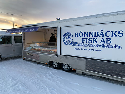 Fish vendor in a Kiruna parking lot.