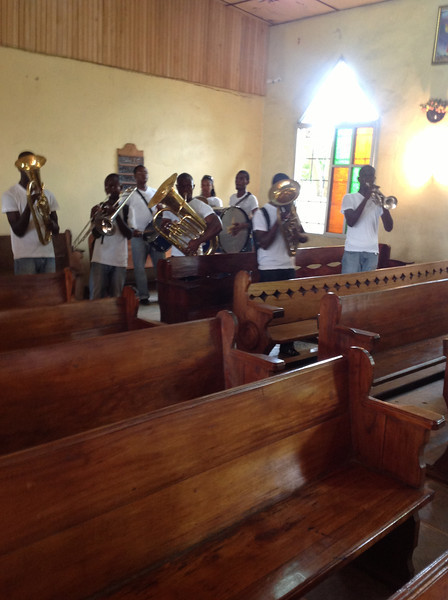 Local highschool band plays.