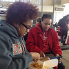Valora Starr and Mae Helen waiting to board the flight to JFK to meet the women traveling to Liberia.