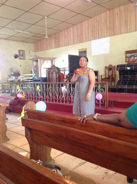 Leymah Gbowee at St. Matthew's parish giving greetings.
