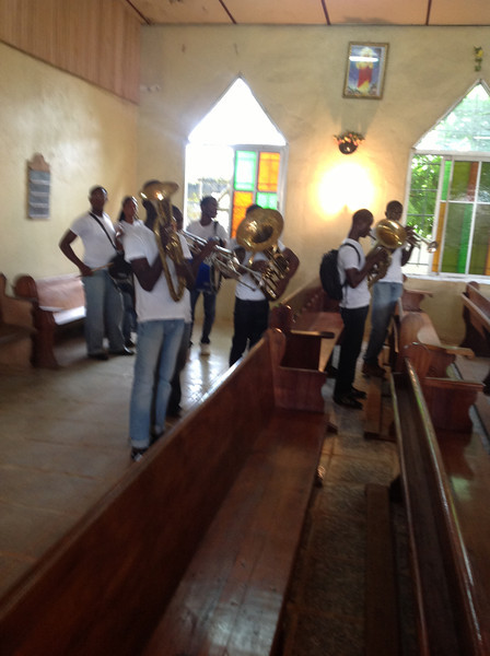 Music was well received by the local high school band..