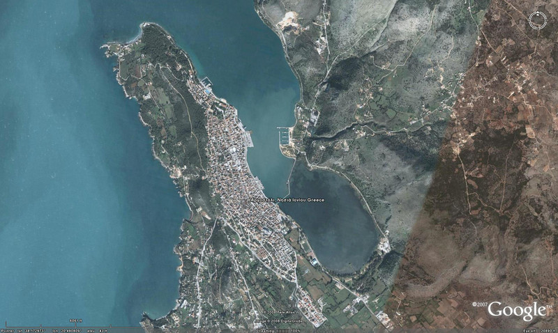 <h1>Argostoli, Cephalonia, Greece </h1> <h2>Day 25 Arrive: 11:00am April 29, 2008 Depart: 6:00pm April 29, 2008</h2>This town was basically leveled my earthquakes in 1953 (only 1 building was left standing.)  This was another port that we had to anchor and 'tender' in using the life boats.<br><br>Shirley and Nancy decided to simply tour the town on foot and Mike and Louise were off on a tour of a cave and underground lake.<br><br>Overall it was OK but not great.  The cave had suffered many a visitor through the years and was showing some affect.  The underground lake was neat but not has big as I had hoped.  Some good pictures might have come from it.<br><br>The sunset tonight was great.  It took 55 pictures of it trying to be sure to get a good one.