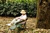 Nancy relaxing a bit in the gardens in Rio de Janeiro.