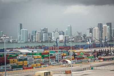 Containerized freight on the docks at the Port of Miami