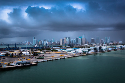 Rain Clouds Frame Downtown Miami During Our Departure