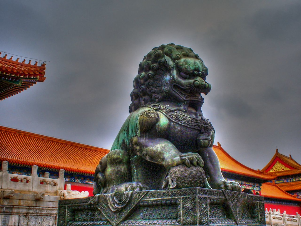 Protective Lion Sculpture in Forbidden City