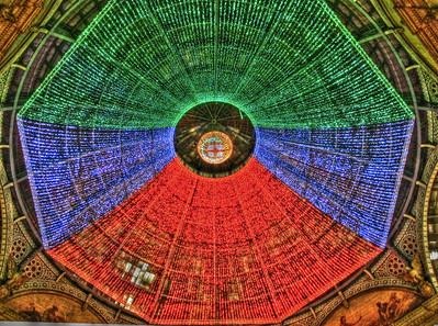 ceiling at night in Galleria Vittorio Emanuele II