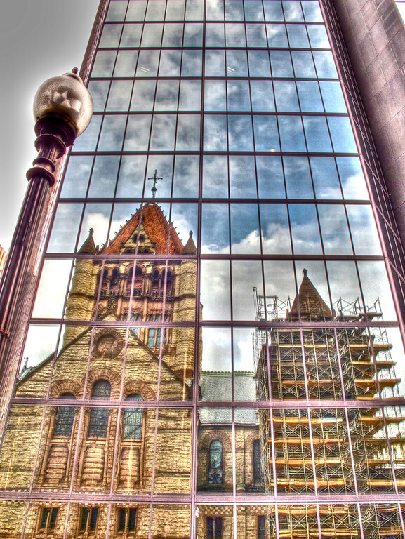 Reflection of the Trinity Church on John Hancock building