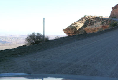 Moki dugway. 1 ft of gravel preventing falls.