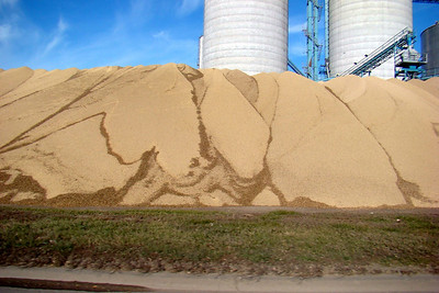 November 27, 2009, 1:14 PM: Another grain elevator with more grain than storage.  This pile was at least 30 feet high.  Farther west, in South Dakota, even larger piles were spotted on the ground.