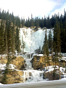 This frozen waterfall was right across the highway from conveniently located pit toilets with a large parking area.