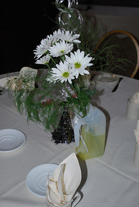 The centerpieces were flowers in urinals with yellow water (food coloring).
