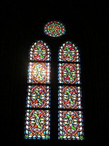 One of the stained glass windows in Mathias Church.