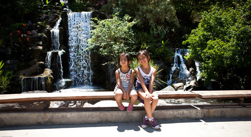 Lexi and Leilani in front of the Meyberg Waterfall.