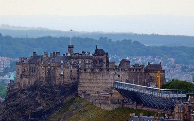 Edinburgh Castle with bleachers set up for the upcoming military tattoo