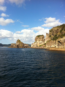 Rugged coastal scene; Great Barrier Island.