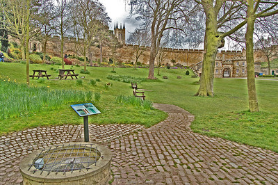 Inside the Castle, the site of the old bath house and well. The ducks by the benches sometimes fall prey to a family of peregrine falcons that nest high on the Cathedral!