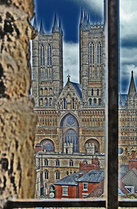 A glimpse of Lincoln Cathedral through a window in the Castle