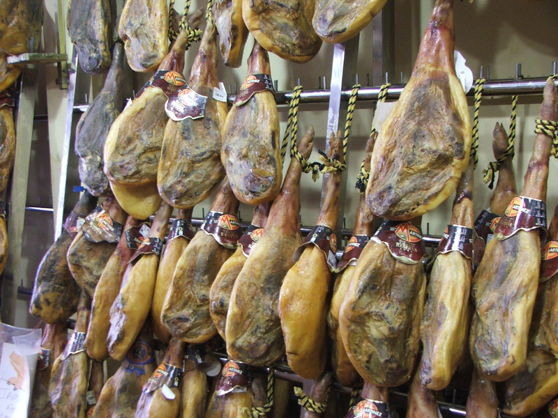 A lovely display of hams in a small shop in Ronda.