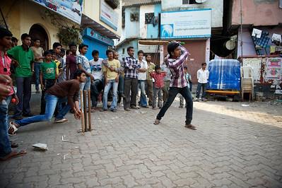 Street cricket, Dharavi.