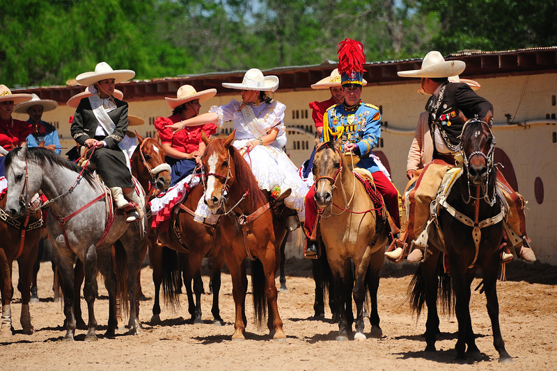 King Antonio leads the Association of Charro of San Antonio into the arena to begin the Charreada